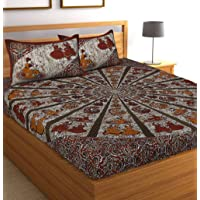 Jaipuri Bedspreads Cotton Double Bedsheets with 2 Pillow Covers Queen Size Multicolour