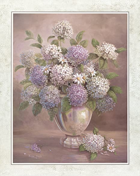 White Lilacs Flowers In Silver I Floral Home,Art Prints Inc