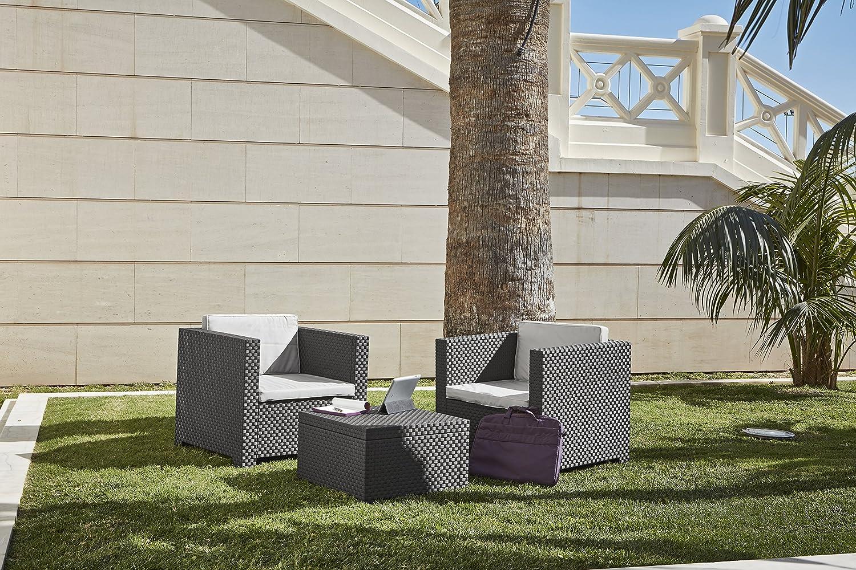 Set Muebles de jardín y terraza Diva à Tête | Color Incluye una Mesa + sofá 2 plazas, Gris Antracita, 80x60x73 cm