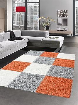 Shaggy Carpet Tapis à Poils Profond Pile Longue Tapis de Salon carpette  Karo crème Rouge Gris Terra Orange Größe 120x170 cm