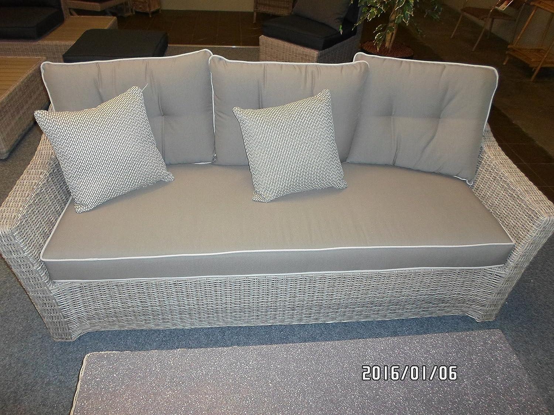 Loungebank Serie Aura hochwertig Polyrattan 188x86x79 cm 3-Sitzer
