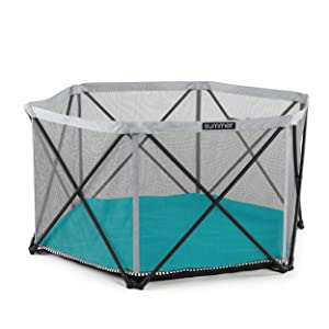 Summer Pop 'N Play SE Hex Playard, Aqua – Lightweight Play Pen for Indoor and Outdoor Use – Removable, Machine Washable Padded Floor and Carry Bag – Portable Playard with Fast, Easy and Compact Fold
