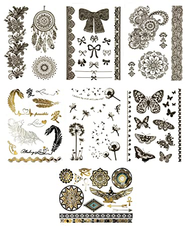 Amazon Com Temporary Boho Black Henna Tattoos Over 75 Fake
