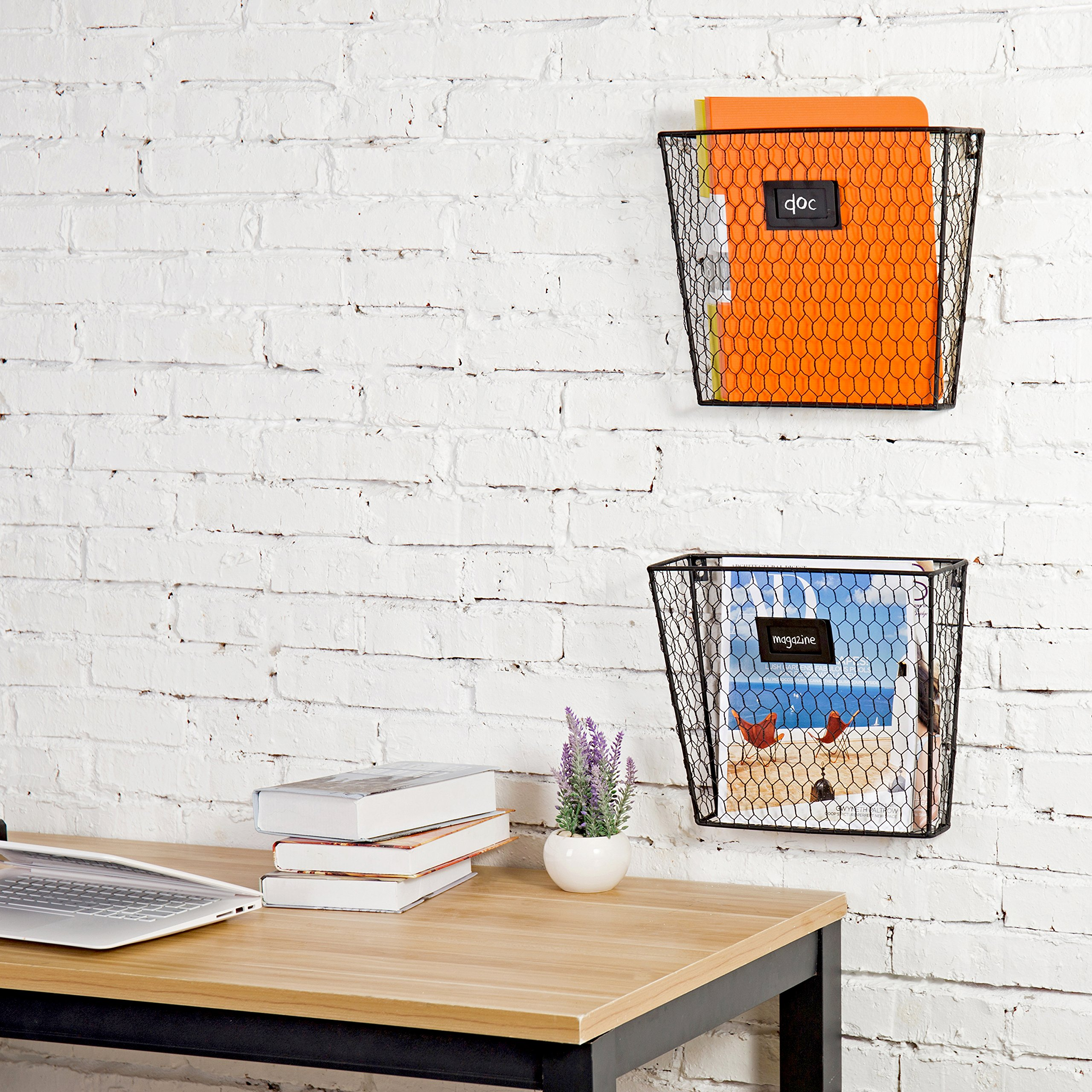 MyGift Rustic Chicken Wire Wall-Mounted Magazine & File Folder Baskets w/Chalkboard Label Inserts, Set of 2 by MyGift (Image #6)
