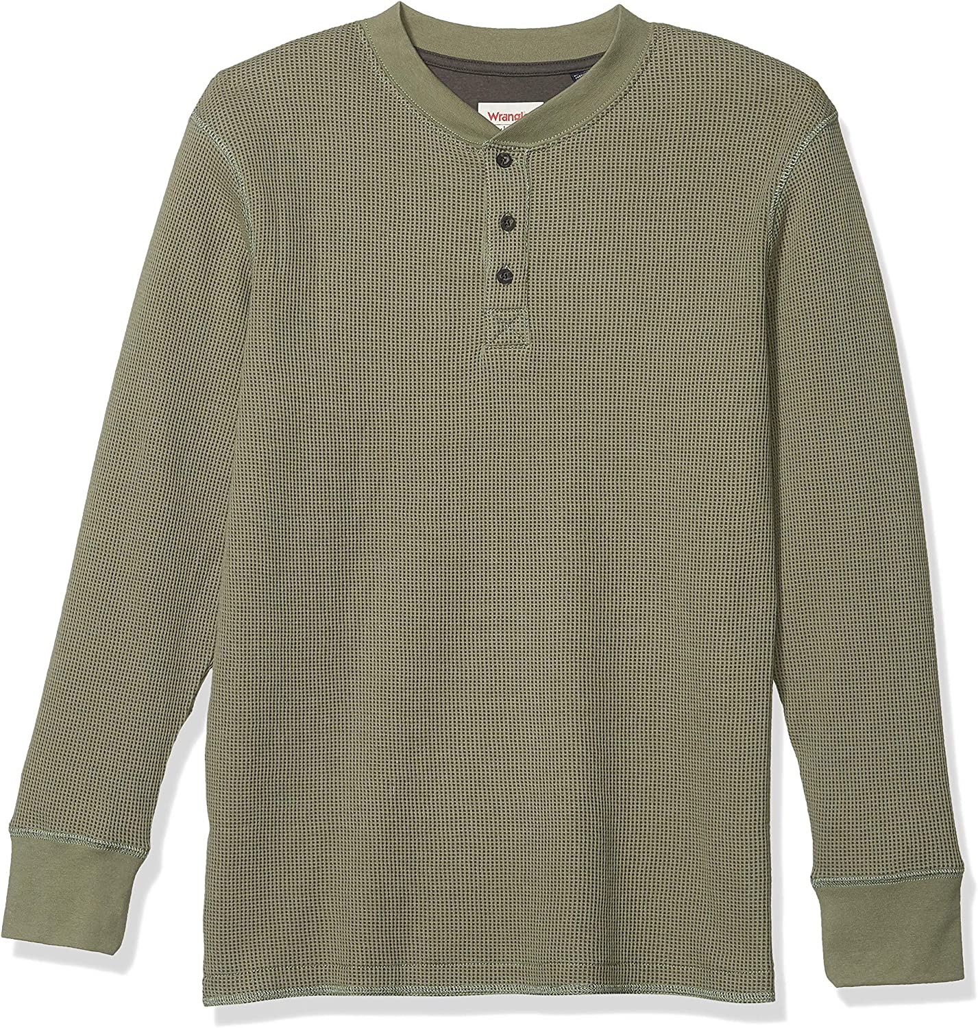 Wrangler Authentics Men's Long Sleeve Waffle Henley at  Men's Clothing store