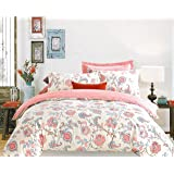 Ahmedabad Cotton Aspire 180 TC Sateen Double Bedsheet with 2 Pillow Covers - Floral, Beige, Blue and Peach