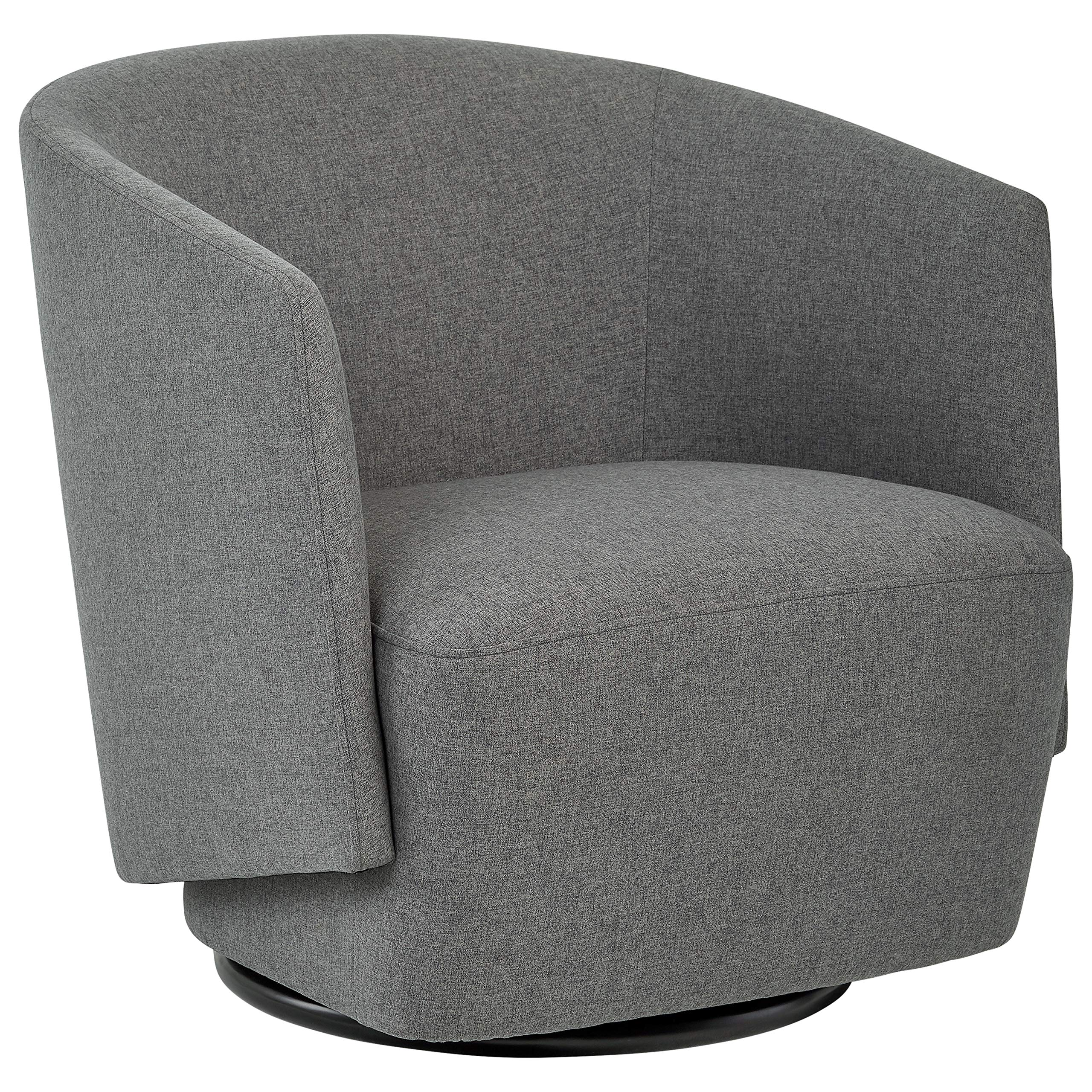 Rivet Coen Contemporary Modern Upholstered Accent Swivel Chair, 30''W, Charcoal by Rivet