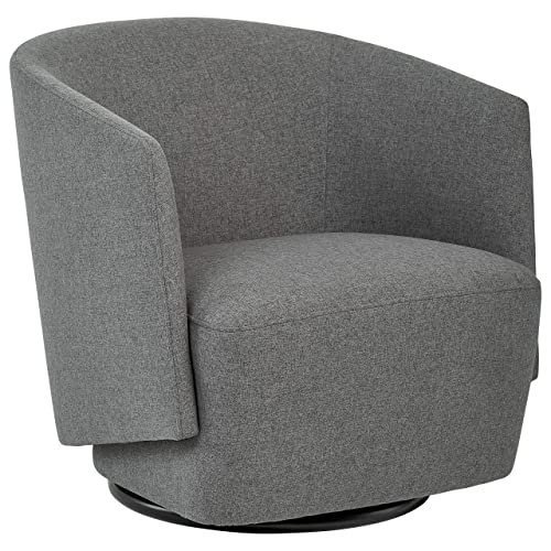 Rivet Coen Contemporary Modern Upholstered Accent Swivel Chair, 30 W, Charcoal