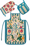 Chef's 3 pc Kitchen Set Collection Blue Floral – Apron, Oven Mit and Potholder