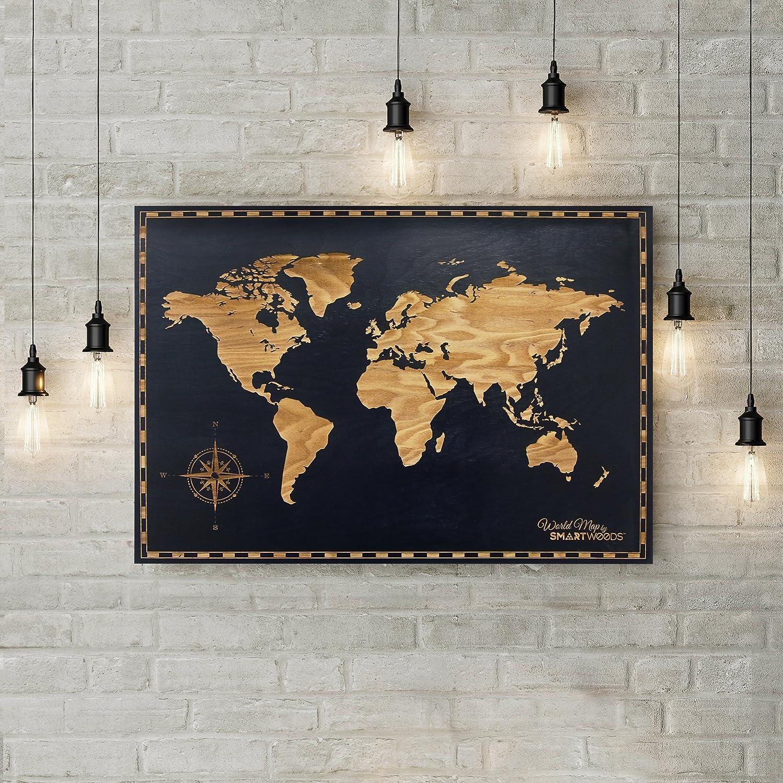 Smartwoods Weltkarte Wandbild 85x59cm, Weltkarte Schwarz Wandbild, Wanddeko, Holzbild, modernes Design, 100% aus Holz, trocken gelagertes Birkenholz, ideales Geschenk zur Hochzeit oder zum Geburtstag 5902706216448