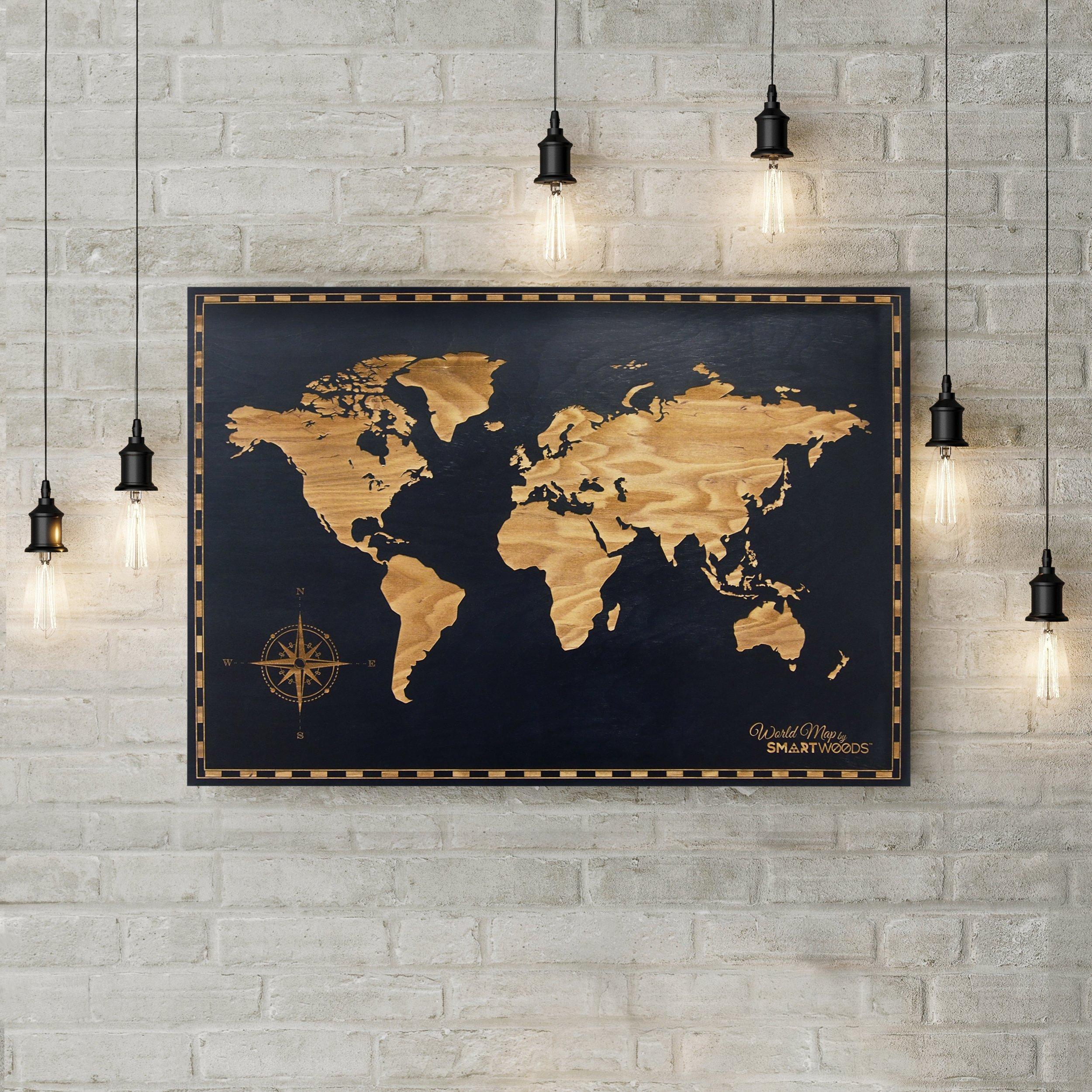 SmartWoods Black World Map, Image. 85 x 59 cm, 120 cm x 60cm, 120cm x 90 cm, Wall Art, World map, Trendy Design, Interior Decoration, Handmade, World, 100% Wood, (85 x 59 cm) by SmartWoods