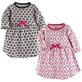 Touched by Nature Baby Girls' Organic Cotton Dress, 2 Pack, Trellis Long Sleeve, 18-24 Months