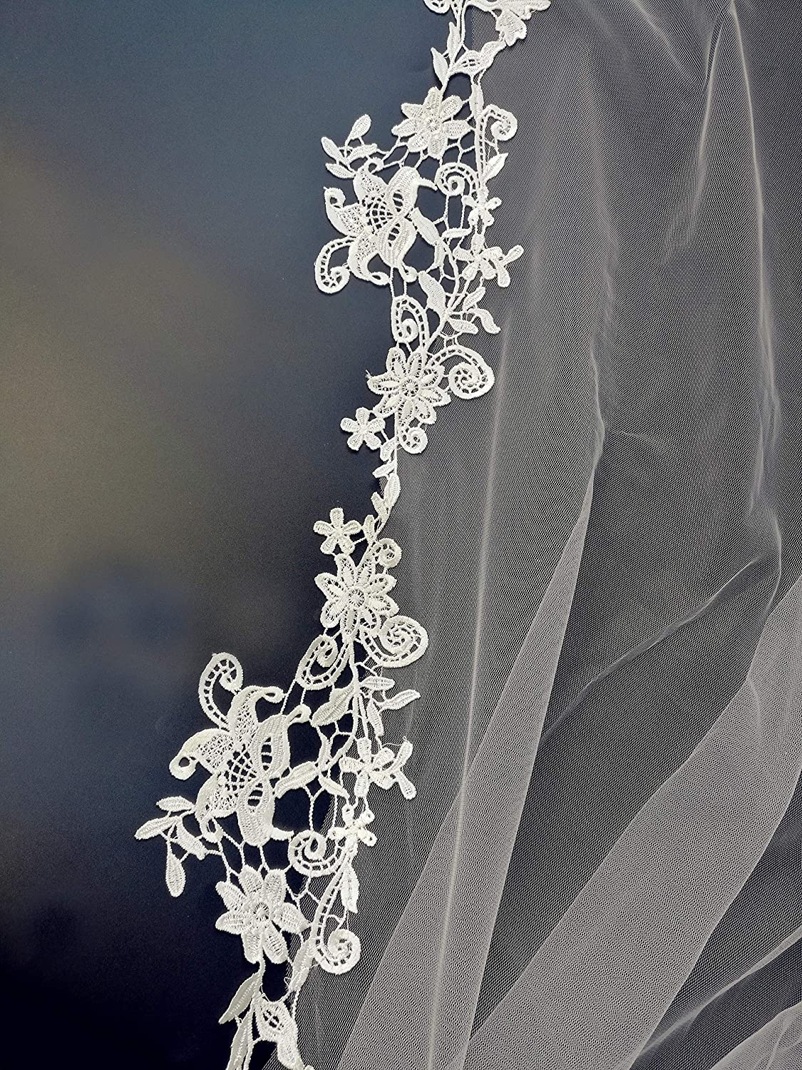 Passat 2 Tier Soft French Lace veils for brides ivory veils bridal for wedding with comb 274