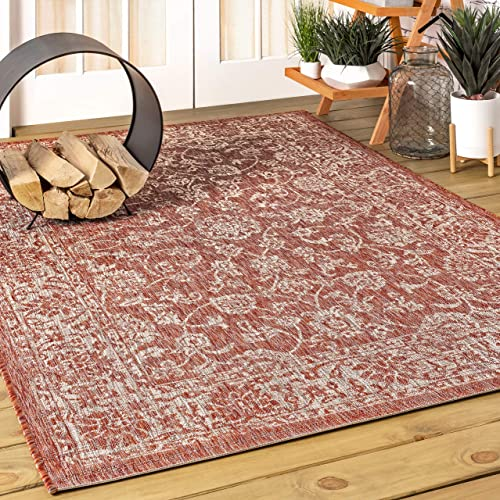 JONATHAN Y Tela Bohemian Textured Weave Floral Indoor/Outdoor Red/Taupe 5 ft. x 8 ft. Area Rug