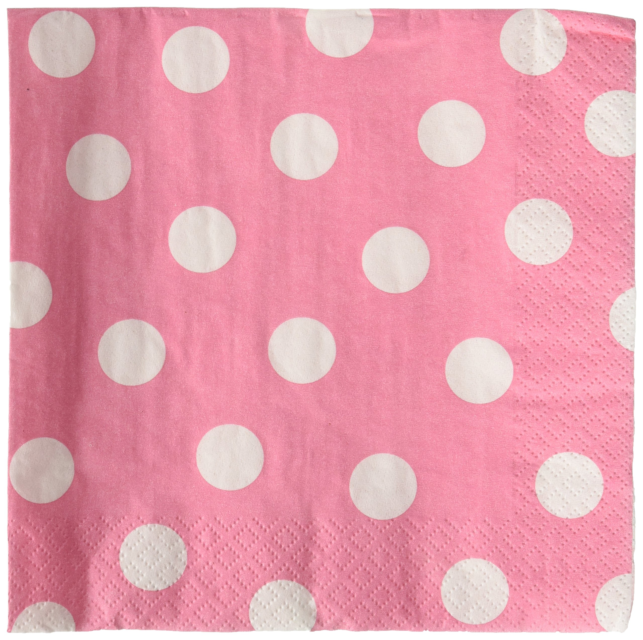 Amscan Dots Luncheon Napkins , 192 Ct.,  New Pink,  6'' x 6''