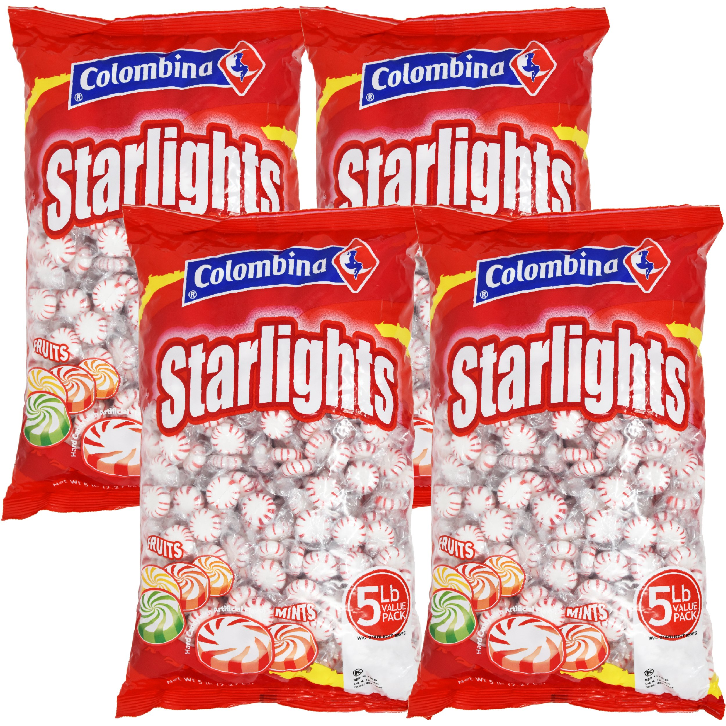 Peppermint Starlight White Center Mints Individually Wrapped Candy 20 Pounds Approx. 1600 Mints by Nosh Pack