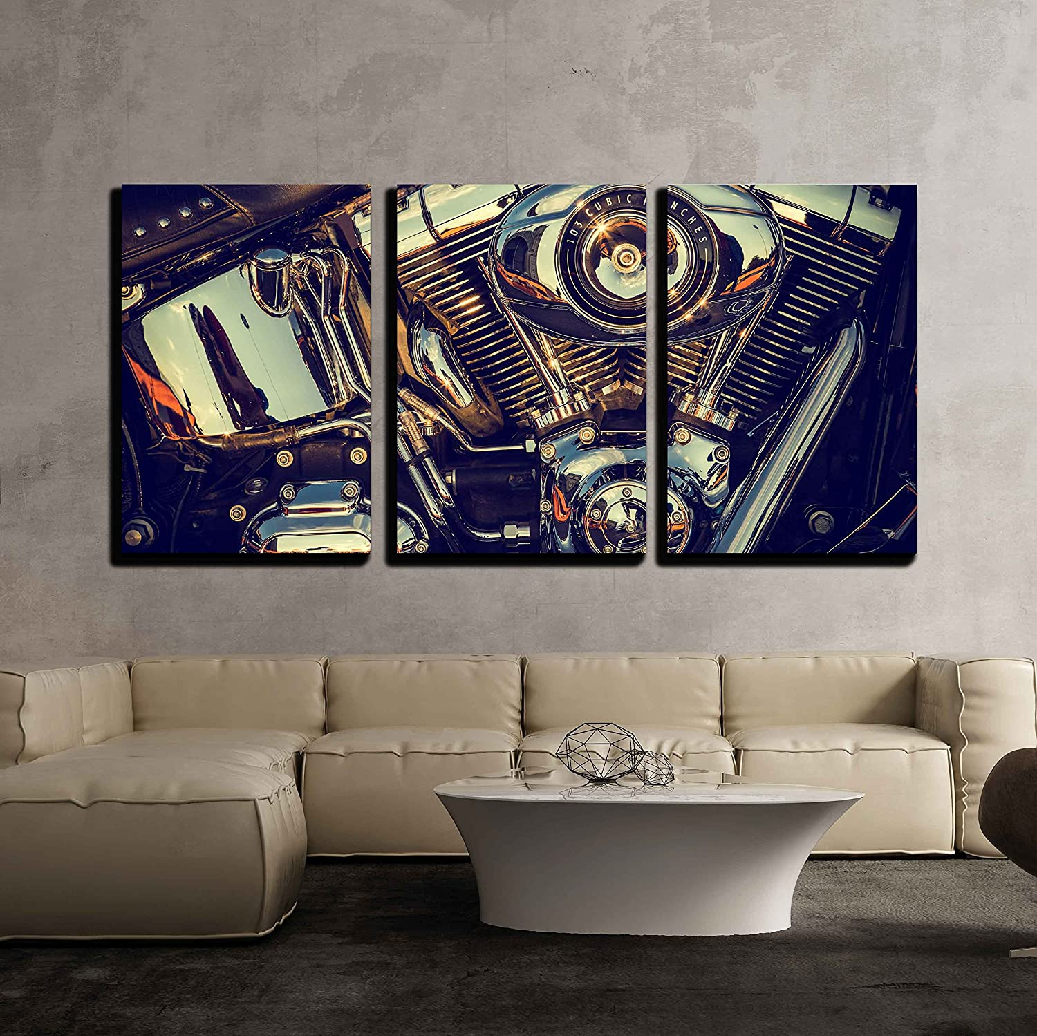 """wall26 - 3 Piece Canvas Wall Art - Close Up of a High Power Motorcycle, Classic Vintage Style. - Modern Home Decor Stretched and Framed Ready to Hang - 16""""x24""""x3 Panels"""