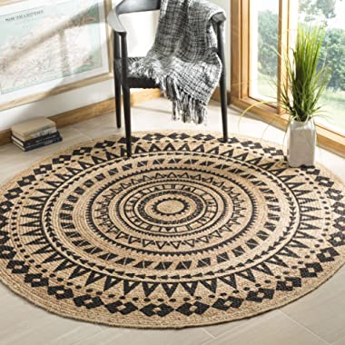 Safavieh Natural Fiber Collection NF802K Hand-Woven Black and Natural Jute Round Area Rug (5' in Diameter)
