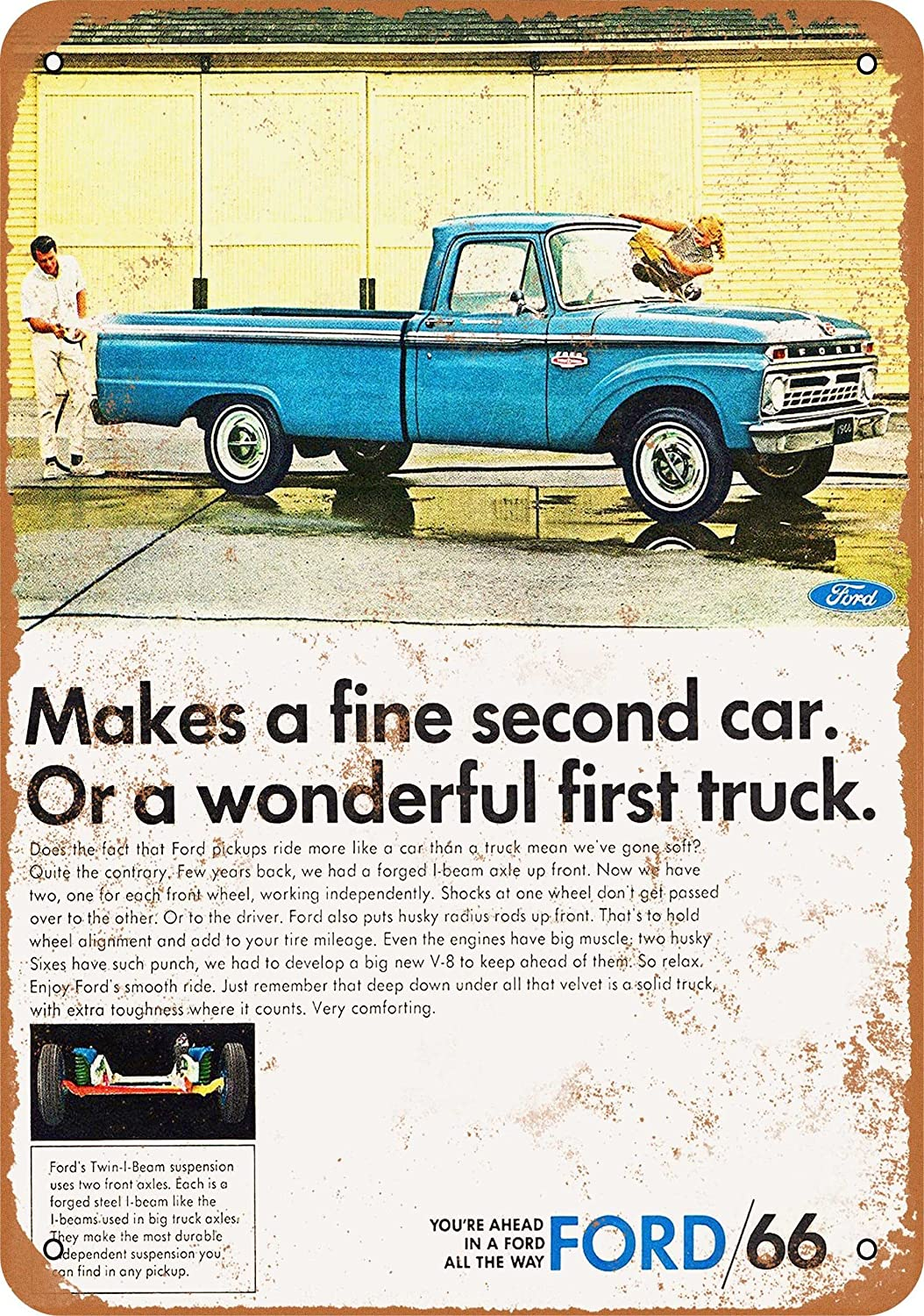 Vintage Look 1966 Ford Pickup Trucks Wall-Color 9 x 12 Metal Sign