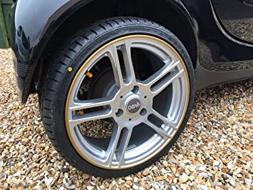 Rimsavers Felgenschutz Styling Felgenschutzring Alu Felgen Ringe Felgenrandaufkleber Felgenstyling Rim Protector Guard Ringz Rimblades Gold Auto
