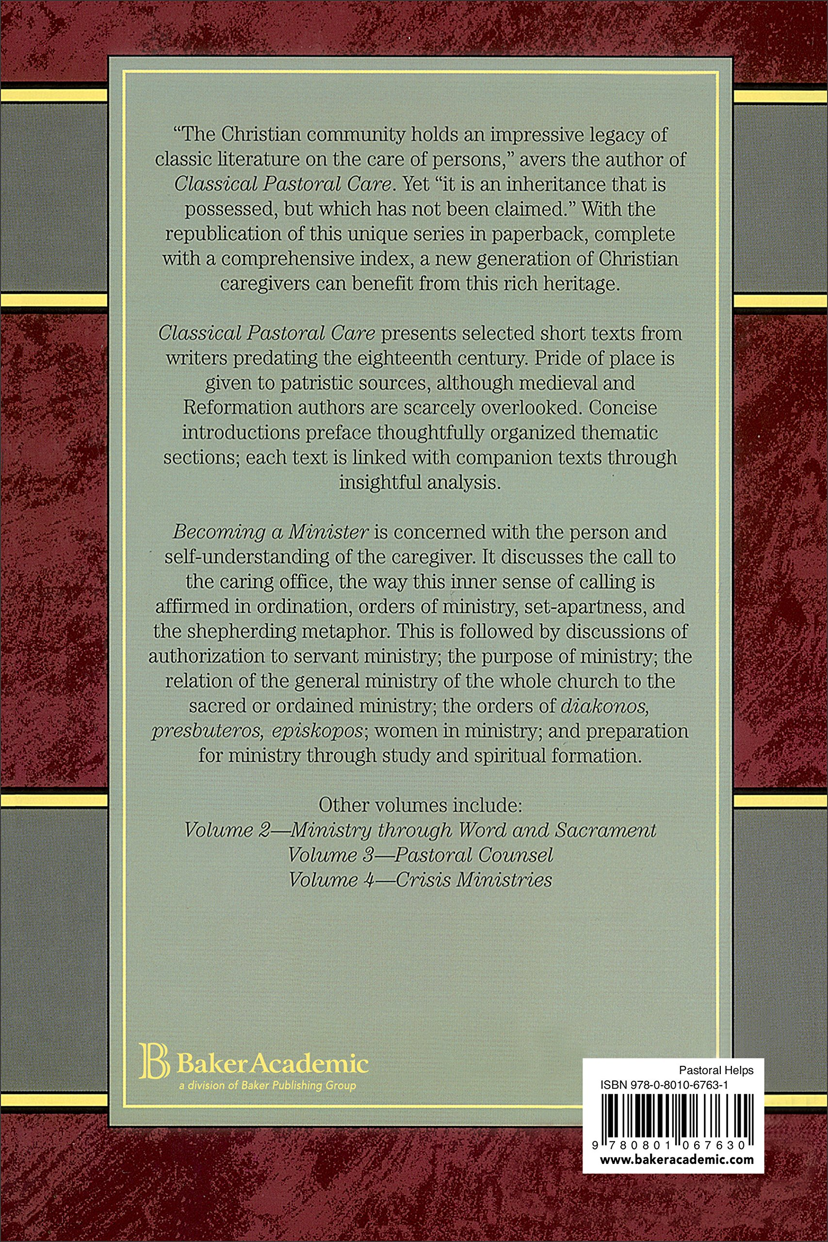 Becoming a minister classical pastoral care series vol 1 thomas becoming a minister classical pastoral care series vol 1 thomas c oden 9780801067631 amazon books fandeluxe Image collections