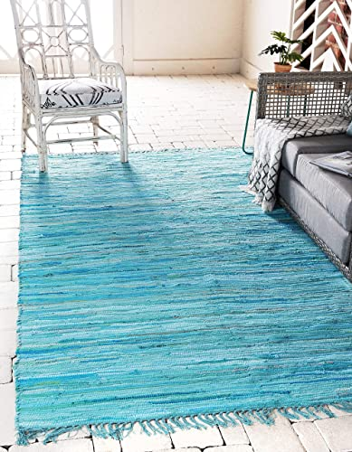 Unique Loom Chindi Cotton Collection Hand Woven Natural Fibers Light Blue Area Rug 5 0 x 8 0