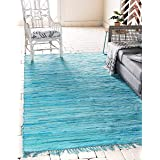 Unique Loom Chindi Cotton Collection Hand Woven Natural Fibers Area Rug_CCH002, 4 x 6 Feet, Turquoise/Ivory