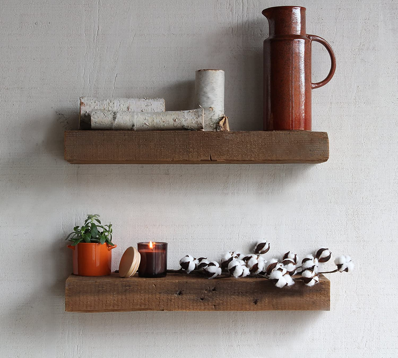 30cmx5cm Rustic ShelvesChunky Solid Wood Shelf With Industrial Wall Brackets