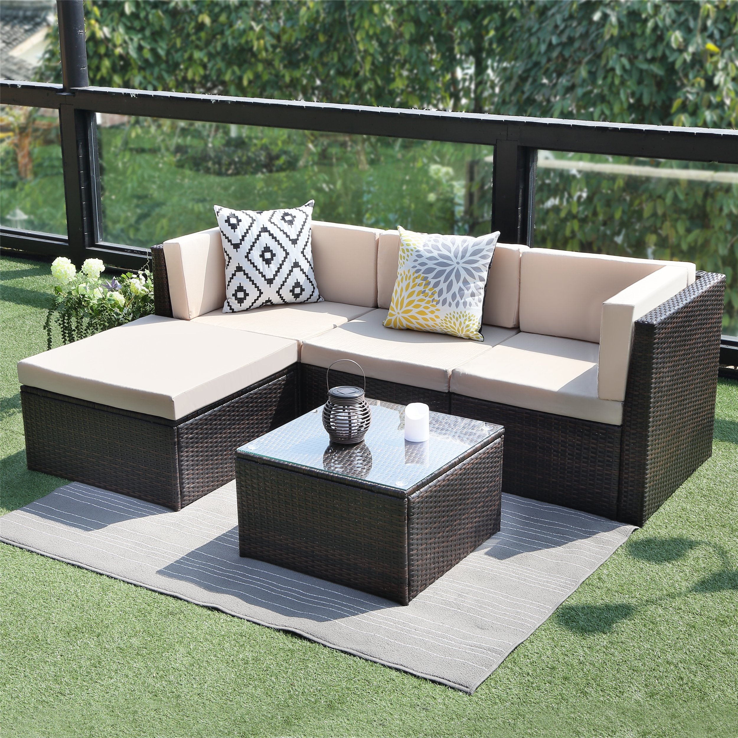 Outdoor Conversation Set Patio Furniture,Wisteria Lane 5PCS Sectional Sofa Set Wicker Glass Tale Chair with Ottoma,Brown