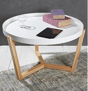 Couchtisch Wohnzimmertisch Sofatisch Beistelltisch Weiss Abnehmbares Tablett 80 Cm Lifestyle Modern Chic