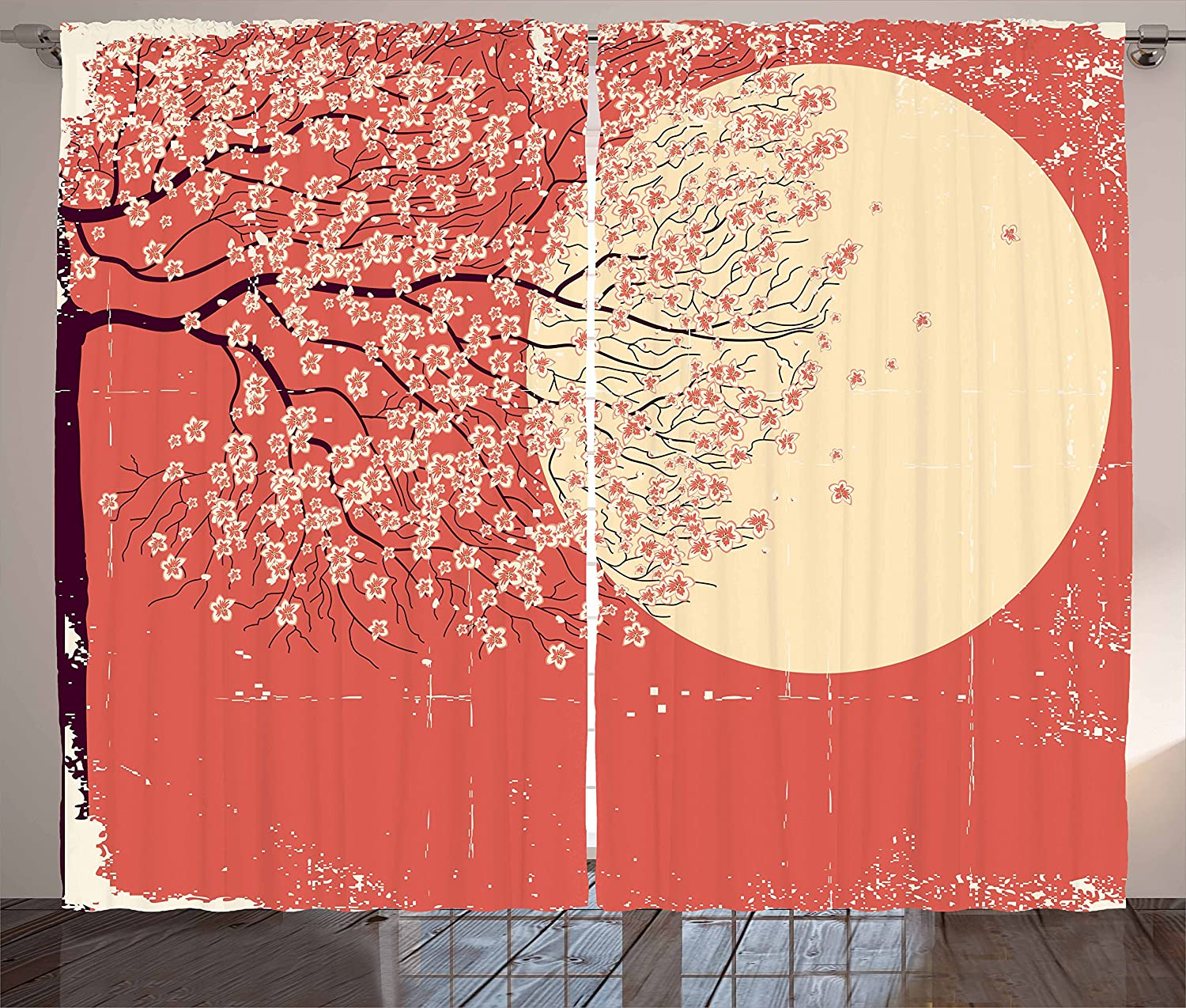 Ambesonne Spring Curtains, Cherry Blossom Sakura Tree Branches on Moon Japanese Style Illustration, Living Room Bedroom Window Drapes 2 Panel Set, 108 W X 84 L Inches, Coral Pale Yellow Plum