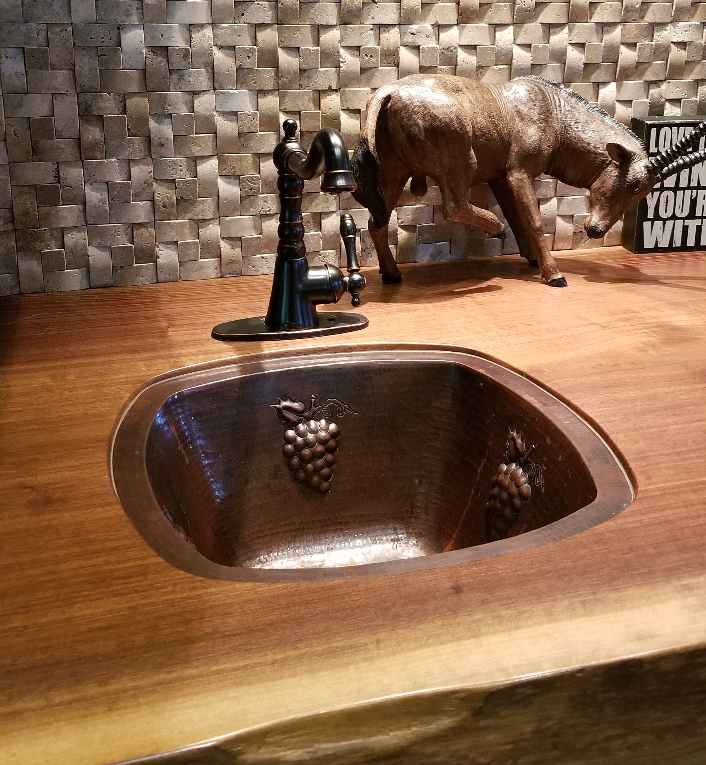 SimplyCopper 15'' Square Copper Bar Sink with Grapes -- 2'' Drainhole