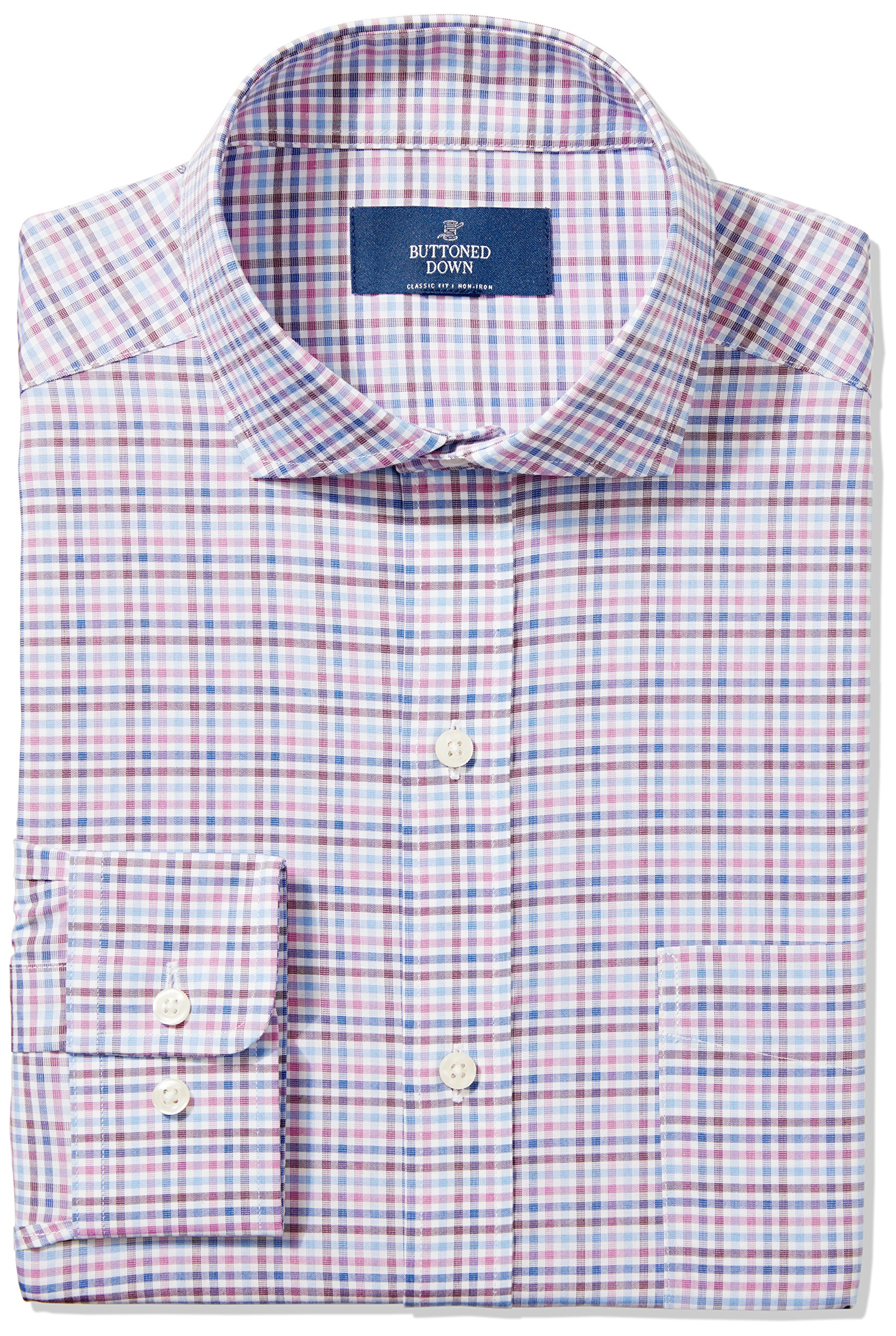 Buttoned Down Men's Classic Fit Cutaway-Collar Non-Iron Dress Shirt, Berry/Blue/Navy Check, 18'' Neck 35'' Sleeve (Big and Tall)