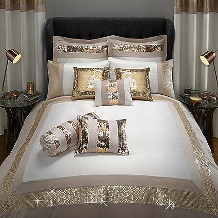 Copripiumino Matrimoniale Color Oro.By Caprice Home Capri Double Duvet With Matt Sequins Border