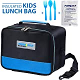 LUNCH BAG FOR Men, Women KIDS - PINNACLE Insulated Lunch Bag Lunch Box for Kids, Adults, Girls, Boys – Tote Lunch Bag for School + BONUS GEL ICE PACK & MATCHING CUTLERY - Double Zipper – Blue