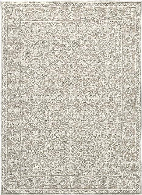 Amazon Com Signature Design By Ashley Beana Large 8 X 10 Foot Area Rug Plush Pile Ivory Beige Furniture Decor