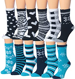 Tipi Toe Womens 12-Pairs Soft Fuzzy Anti-Skid Crew Socks