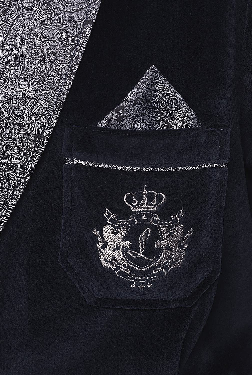 Smoking Jacket Revise RE-111 Short Dressing Gown with Embroidered Pocket