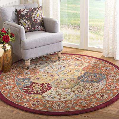 Safavieh Heritage Collection Handcrafted Traditional Oriental Multi and Red Wool Round Area Rug 6' Diameter