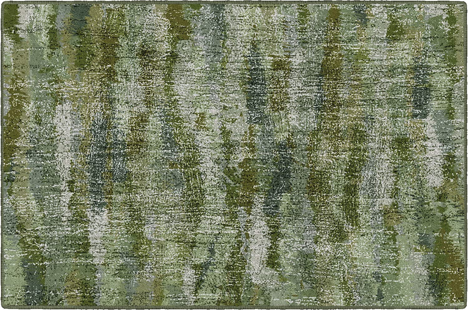 "Brumlow Mills Rustic Abstract Bohemian Home Indoor Area Rug with Contemporary Colorful Green Print Pattern for Living Room Decor, Dining Room, Kitchen Rug, or Bedroom, 3'4"" x 5', Green"
