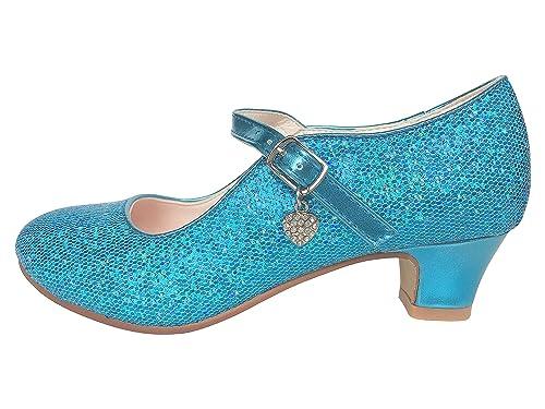 ecee2ae9c La Señorita Zapato Elsa Frozen azul corazón purpurina Flamenco Sevillanas  de la princesa niña  Amazon.es  Zapatos y complementos