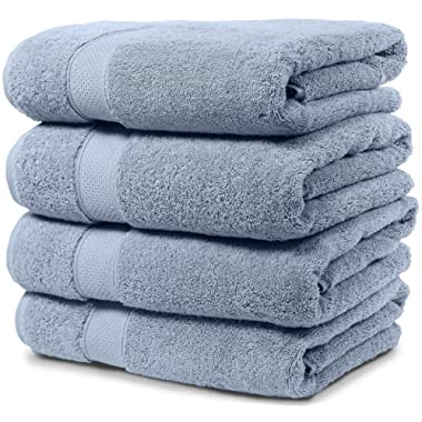 4 Piece Bath Towel Set. 2017(New Collection).Premium Quality Turkish Towels. Super Soft, Plush and Highly Absorbent. Set Includes 4 Pieces of Bath Towels. By Maura.(Bath Towel-Set of 4, Serenity Blue)