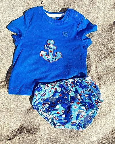 Conjunto Camiseta y Cubrepañal bebe ranita estampado marino azul: Amazon.es: Handmade