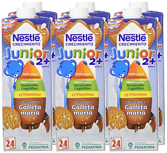 Nestle - Leche Junior Crecimiento con sabor a galleta María +2 años, 6 x 1L: Amazon.es: Alimentación y bebidas