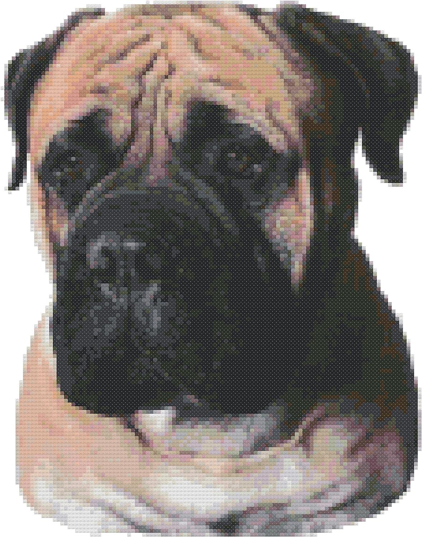 Pug Dog Portrait Counted Cross Stitch Pattern Chart
