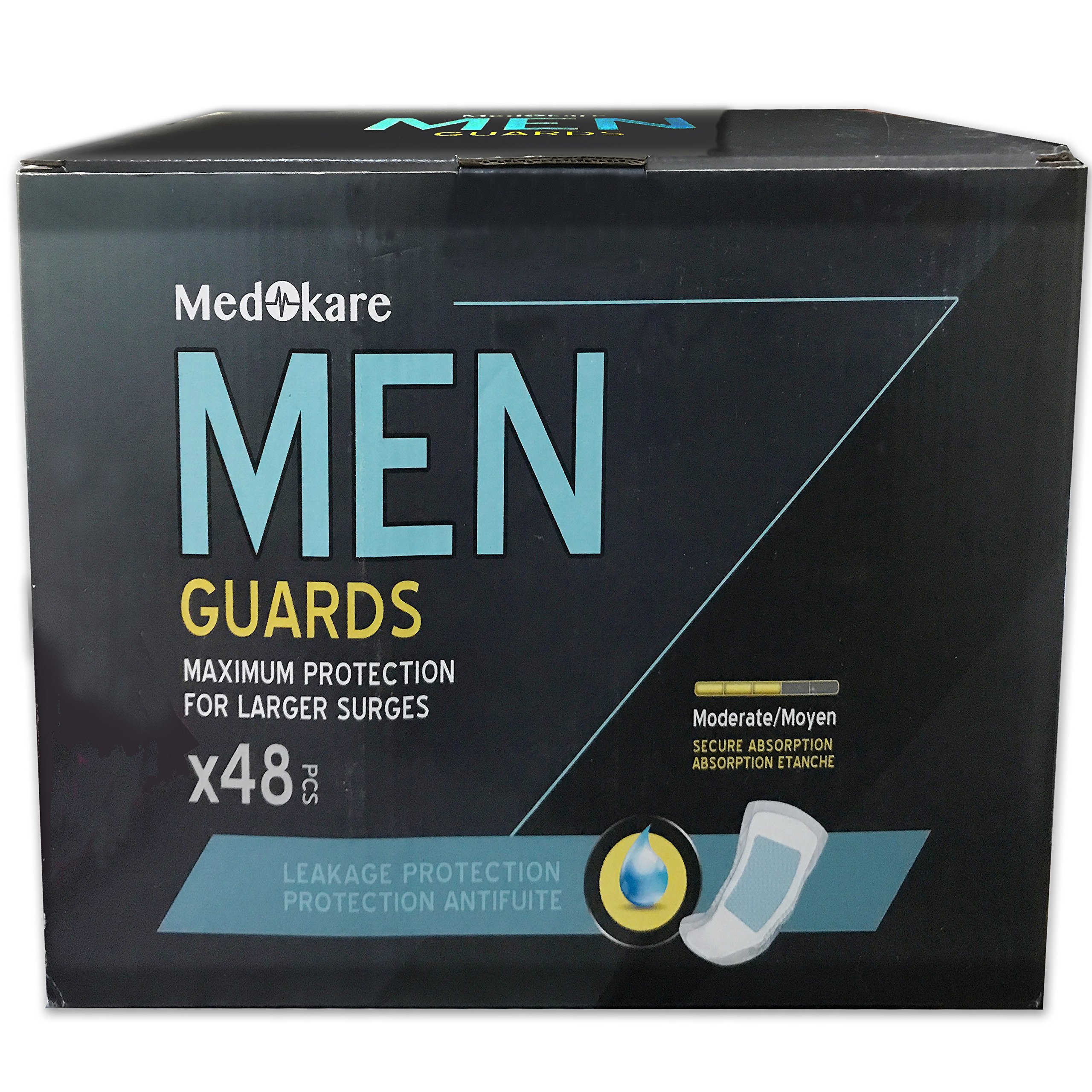 Medokare Incontinence Pads for Men - 450ml/16oz Maximum Absorbency Disposable Men Pads for Leakage, Discreet Cup Bladder Control Pads Shields for Men, Urine Leakage Protection Men Guards