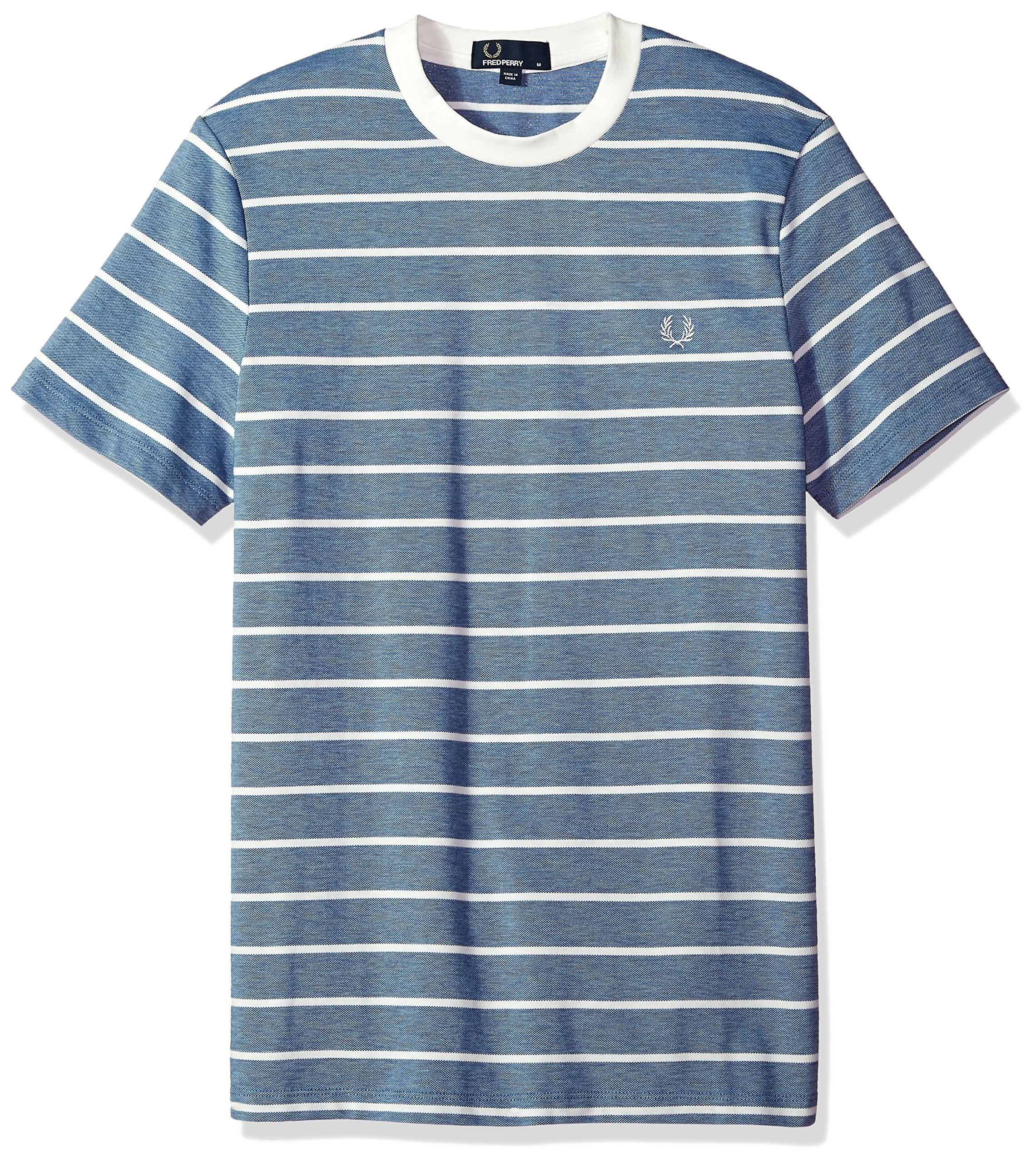 Fred Perry Men's Oxford Stripe Pique T-Shirt, Summer Blue, Medium