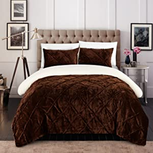 Chic Home 3 Piece Josepha Pinch Pleated Ruffled and Pin Tuck Sherpa Lined King Bed in a Bag Comforter Set Brown