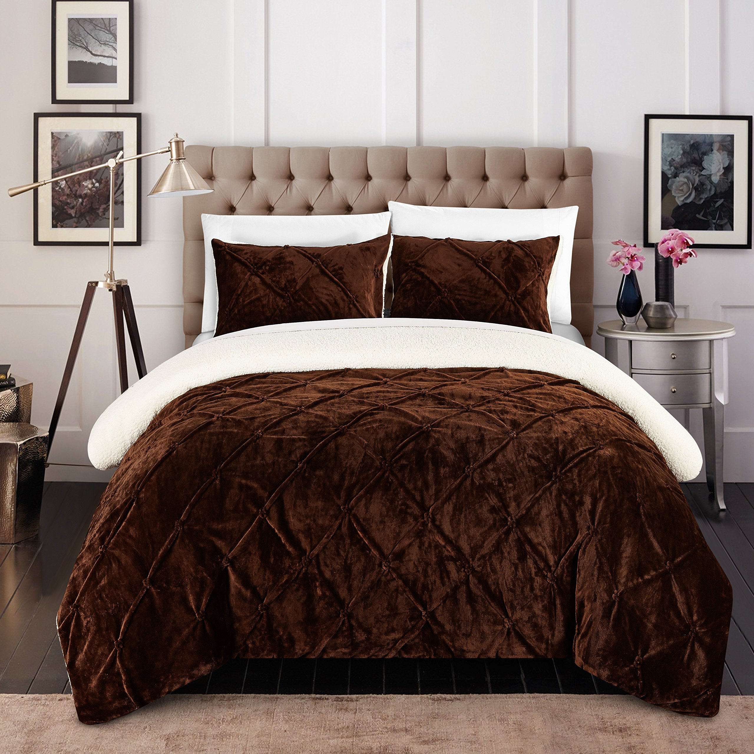 Chic Home CS5116-AN Josepha 3Piece Josepha Pinch Pleated Ruffled & Pin Tuck Sherpa Lined King Bed In A Bag Comforter Set Brown,King by Chic Home