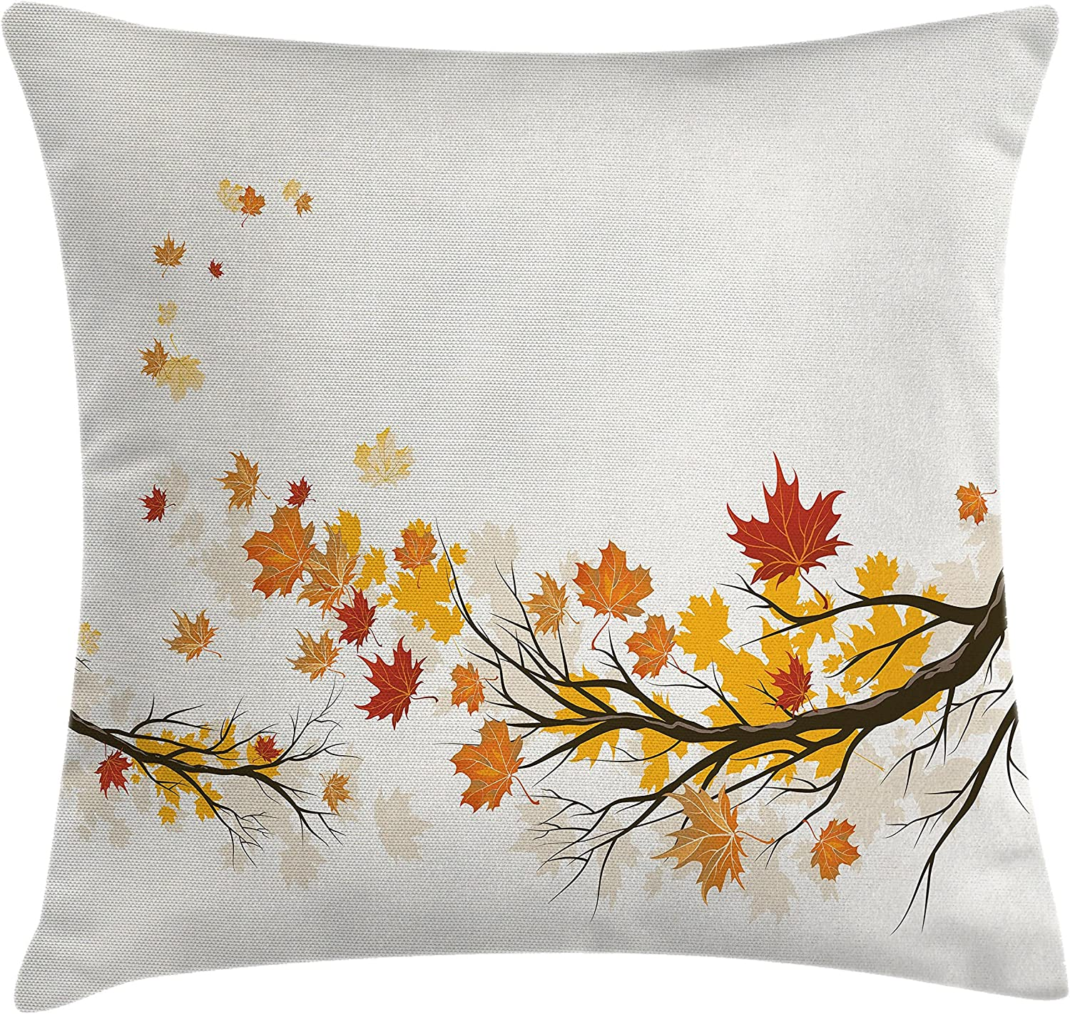 Amazon Com Ambesonne Fall Throw Pillow Cushion Cover Seasonal Tree Branches With Pale Colors September Foliage With Warm Leaves Print Decorative Square Accent Pillow Case 20 X 20 Inches Multicolor Home Kitchen